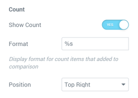 Compare Count Button settings