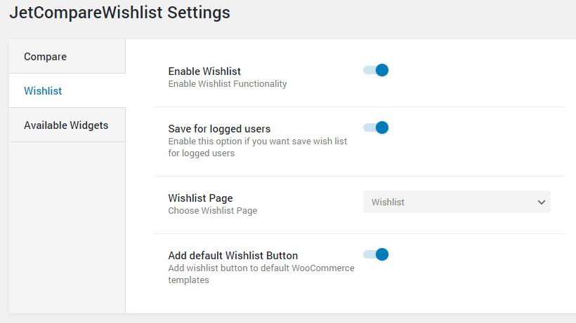 Wishlist settings