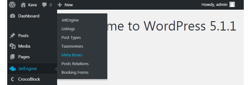 JetEngine WordPress dashboard