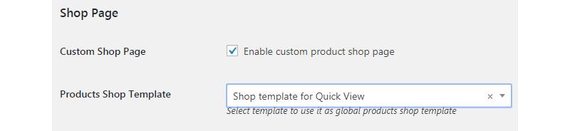 custom shop page option