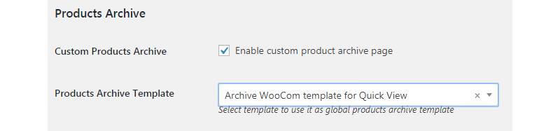 product archive option