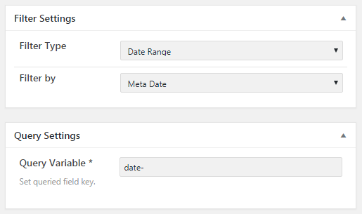 Filter and Query settings for the Date Range filter