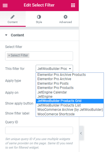 Select filter for the JetWooBuider Products Grid
