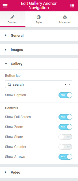 Gallery settings in Gallery Anchor Navigation widget