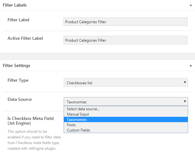 Filter labels and settings