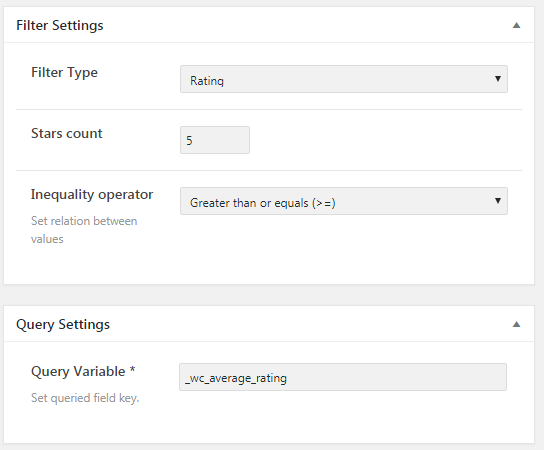Filter ans query settings