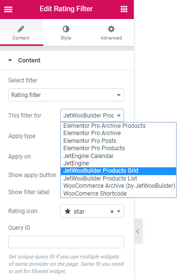 JetWooBuilder Products Grid for the Rating filter