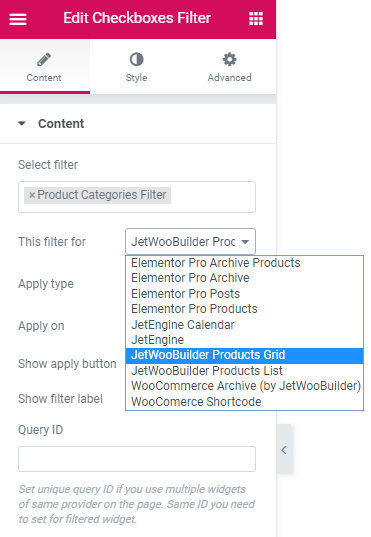 Content settings for the Checkboxes Filter