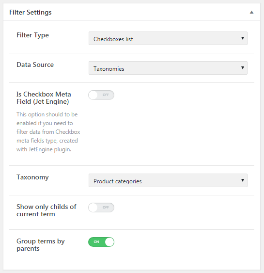 Filter settings for the taxonomy data source