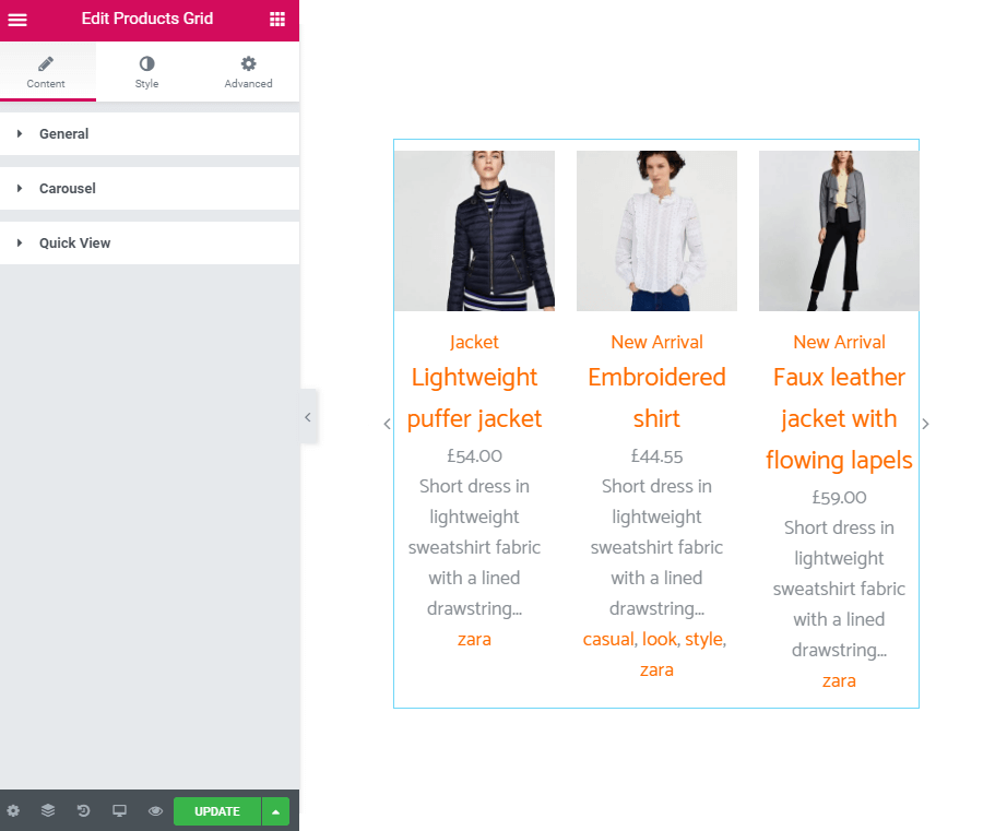 Content settings of the Product Grid widget