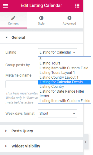 Listing dropdown in the general settings in Calendar widget