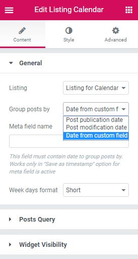 General settings in Calendar widget