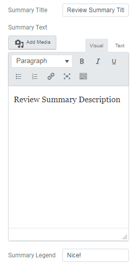 Summary settings for Review widget of JetReviews plugin