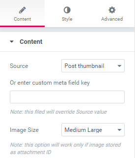 Content settings of Dynamic Image widget