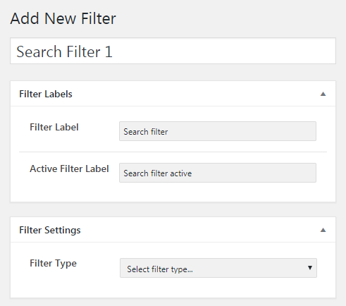 Filter labels and settings for the new filter