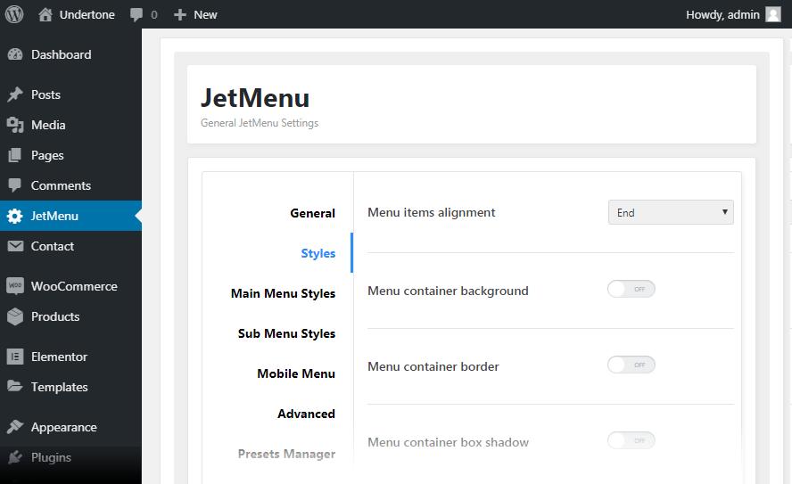 Styles JetMenu option