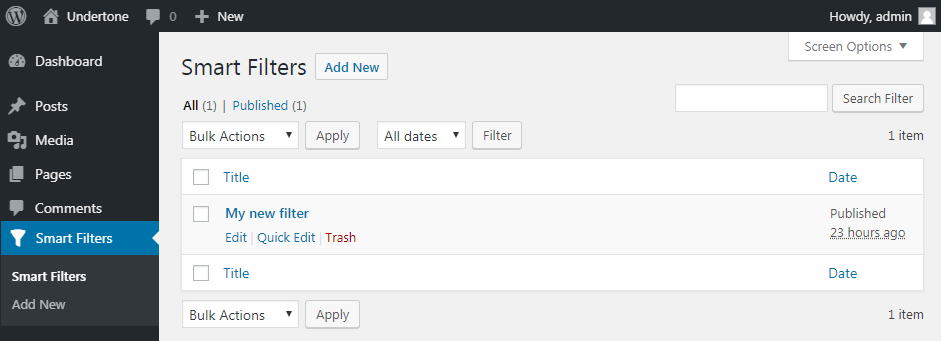 Smart filters in WP Dashboard