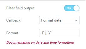 Format date calllback