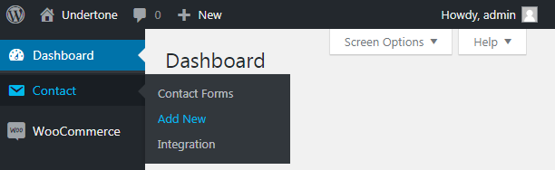 WordPress dashboard Contact tab