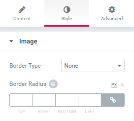 style settings of Dynamic Image widget