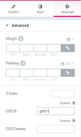 Advanced tab in the Elementor panel