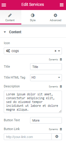 Content settings in Services widget