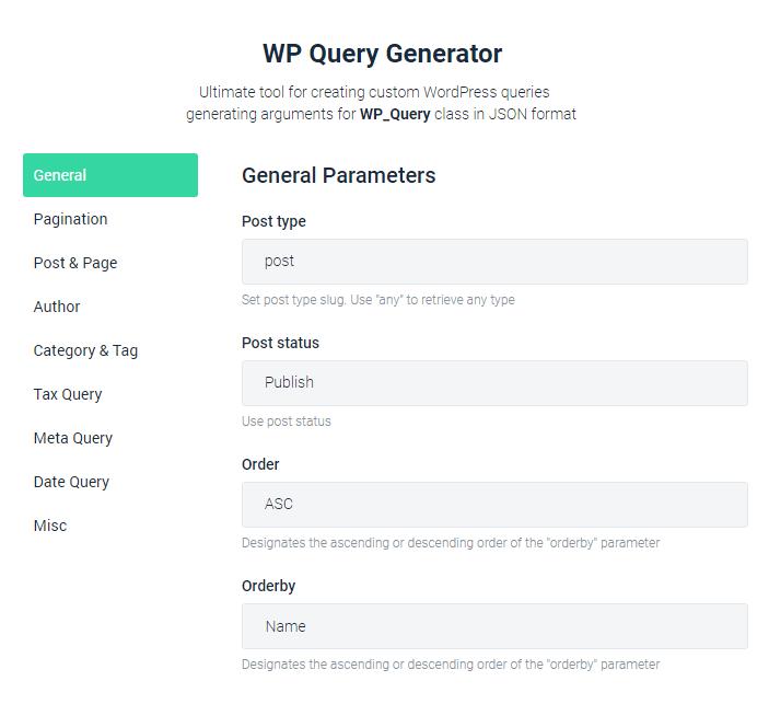 WP Query Generator