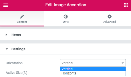 content settings of the Image Accordion widget