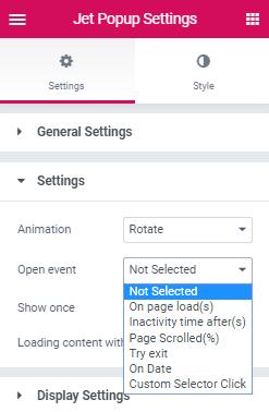 settings block