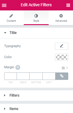 Active Filters widget style settings