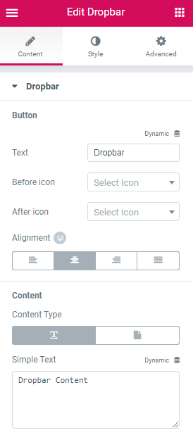 Dropbar content settings