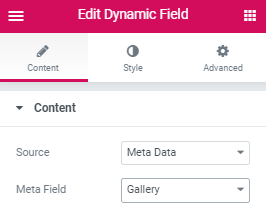 dynamic field content settings