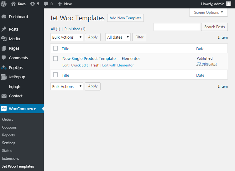 JetWooTemplates in WooCommerce option