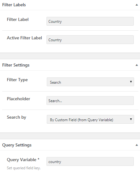 Filter labels, Filter Settings and Query Settings