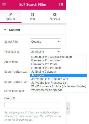 Content settings in Search filter widget