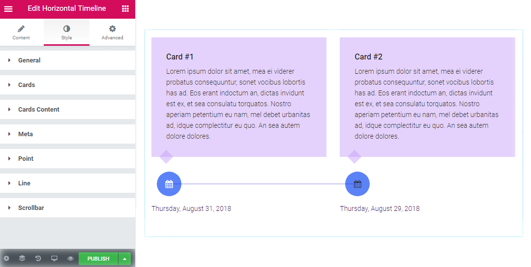 Horizontal Timeline widget style settings