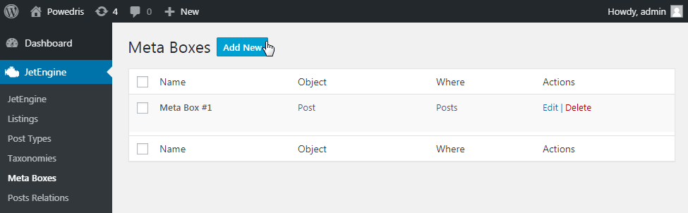 Meta Box settings in WP Dashboard