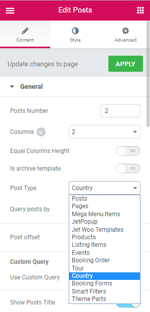 Posts widget adjustment