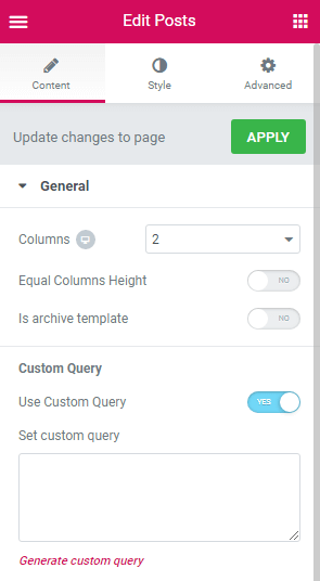 Posts widget custom query