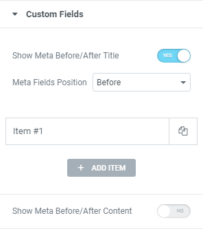 Posts widget custom fields