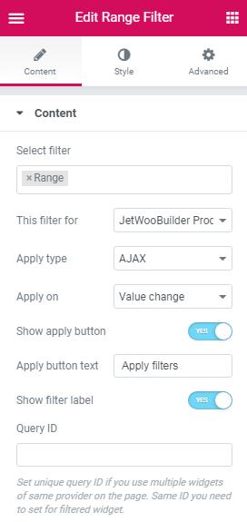 Content settings in Range filter widget