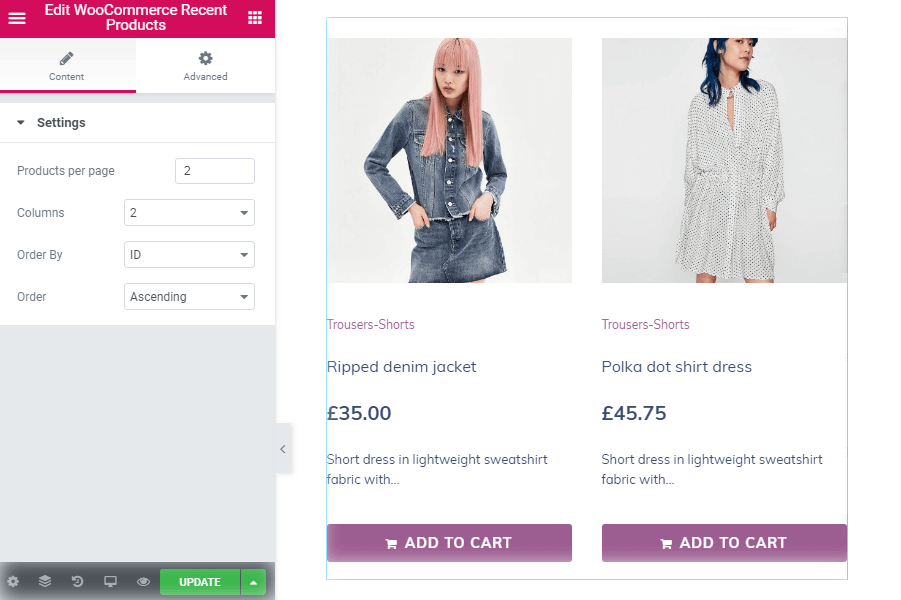 Settings in WooCommerce Recent Products widget