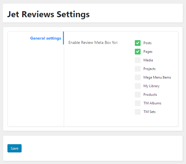 General settings of JetReviews plugin