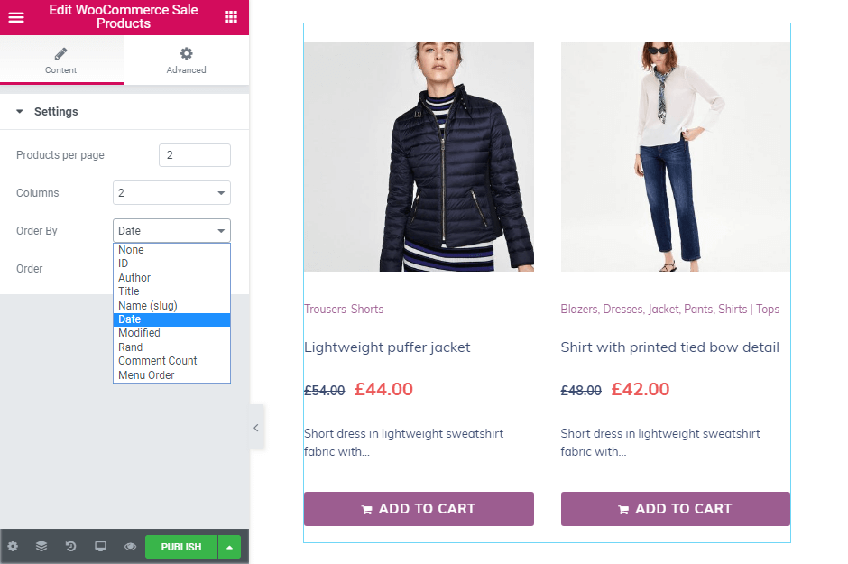 Order by option in WooCommerce Sale Products widget