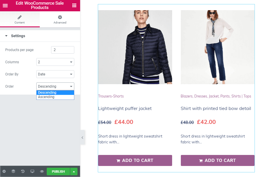 Order in WooCommerce Sale Products widget