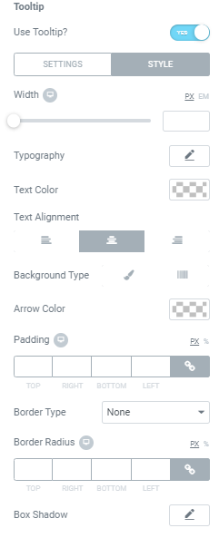 Style tab for the Tooltip widget