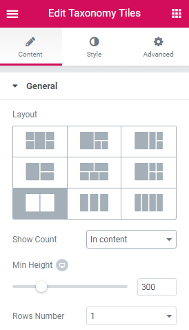 Taxonomy Tiles widget for Elementor