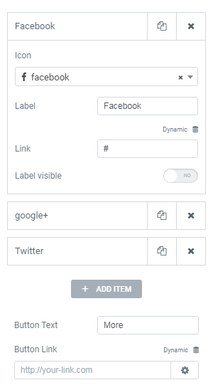 Social media settings in Team Member widget