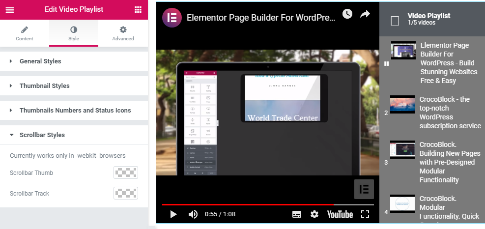 Scrollbar Styles in Video Playlist widget