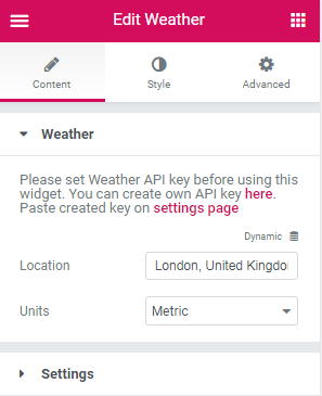 Weather widget content settings